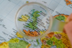 Close up of map of Great Britain, loupe view of Great Britain map