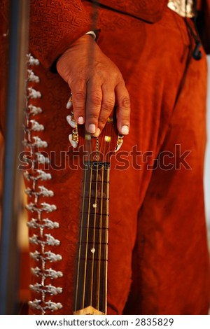 Close up of mariachi band guitar player's hand.  Shallow DOF, focus on back of hand.