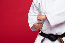 Close-up of martial arts master position