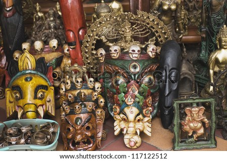 Close-up of masks in a store, New Delhi, India
