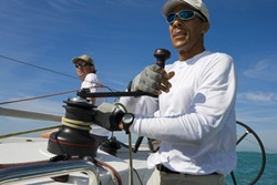 Close-up of mature African American man sailing in Key West, Florida, USA