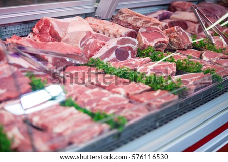 Close-up of meat in display at supermarket