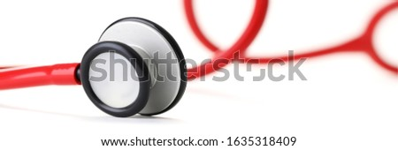 Close-up of medical stethoscopes part. Tool to investigate respiration condition. Hippocratic oath and healthcare concept. Isolated on white background