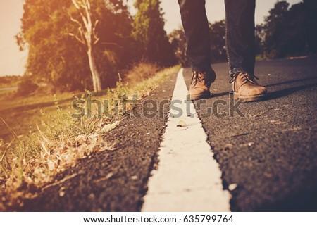 close up of men shoes walking...