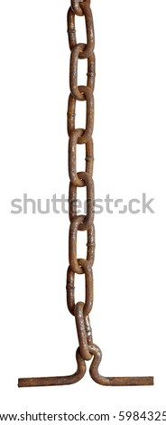 close up of metal chain part on white background with clipping path