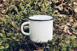 Close up of metal mug on forest ground among blueberry shrubs and oak leaves. Outdoor tea, coffee time. Mockup of white enamel cup. Lifestyle relax, trekking and camping concept.