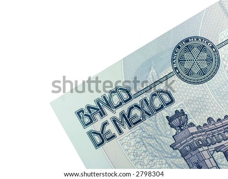 Close-up of 20 Mexican pesos isolated on a white background.