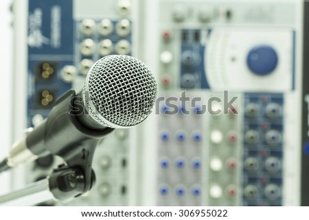 Close up of microphone in concert hall or conference room, Close up old microphone in conference room , Studio equipment.