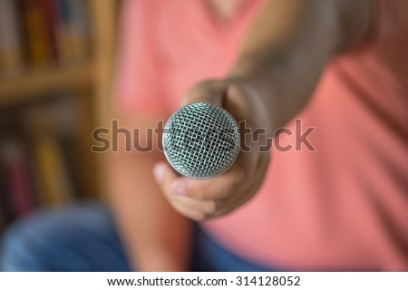 Close up of microphone in room or conference room.selective focus