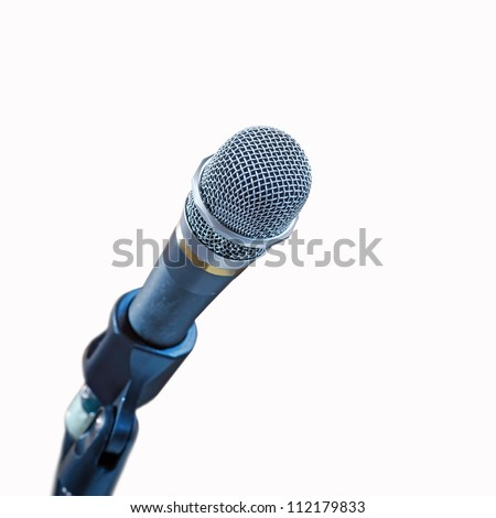 Close up of microphone isolated on white