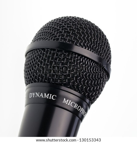 Close up of microphone on isolated white background