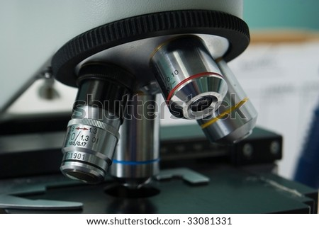 close up of microscope horizontaly