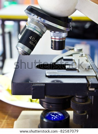 Close up of microscope lenses in the lab - stock photo