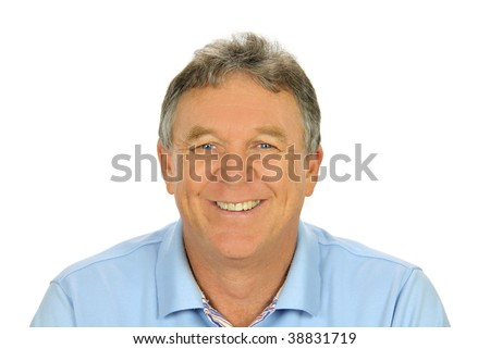 Close up of middle aged casual man smiling and sitting. #38831719