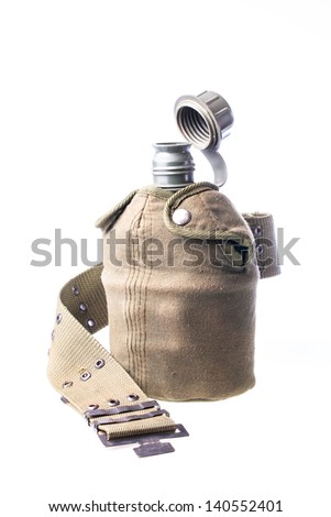 Close up of military flask against isolated white background - stock photo