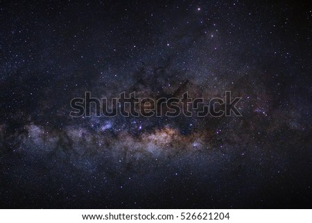 Close-up of Milky Way Galaxy, Long exposure photograph, with grain