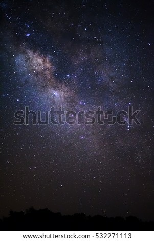 Close-up of Milky way galaxy with stars and space dust in the universe, Long exposure photograph, with grain.\r\r