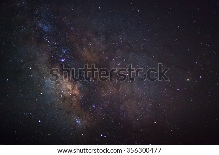 Close-up of Milky Way,Long exposure photograph, with grain