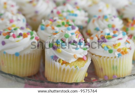 close-up of mini cupcakes, shallow depth of field