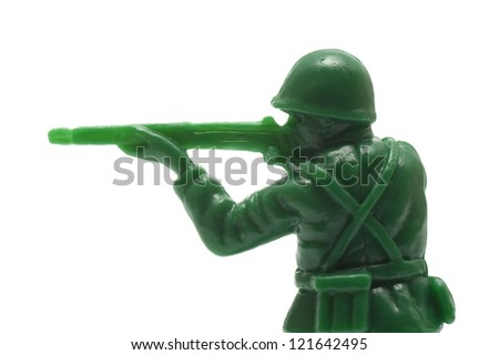 close-up of miniature toy soldier with guns