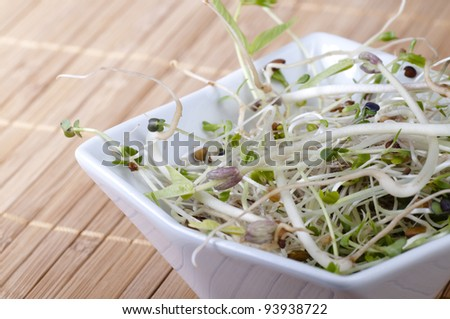 Close up of mixed beansprouts in a white bowl on a bamboo placemat.
