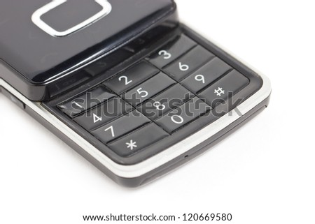 Close up of mobile phone keyboard.