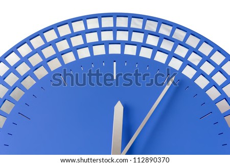 Close-up of Modern Blue Wall Clock