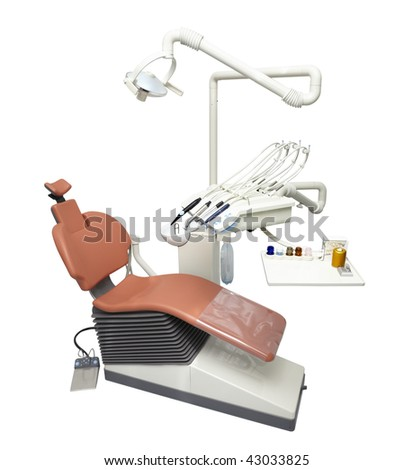 close up of modern dentist chair isolated on white background with clipping path