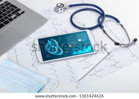 Close up of modern medical diagnostics concept #1361424626