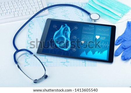 Close up of modern medical diagnostics concept #1413605540