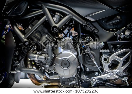 Close up of modern motorcycle engine and structure. #1073292236