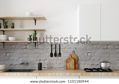 Close up of modern white kitchen counter on brick wall. Style and design concept. 3D Rendering