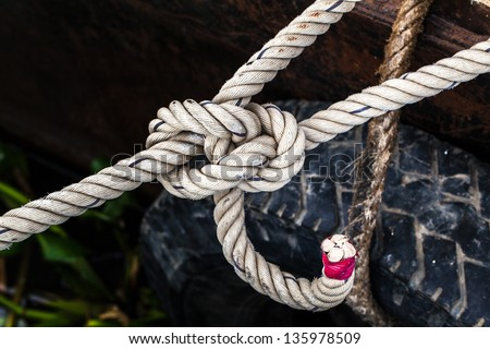 Close up of mooring cord