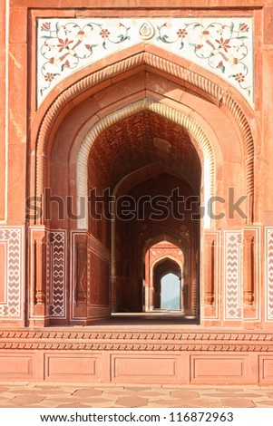 Close up of Mosque in Taj Mahal, India