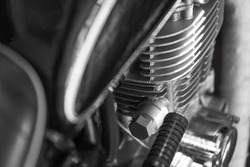Close up of motorcycle part, engine, meter and head lamp