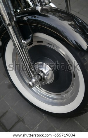 close up of motorcycle wheel and tier. #655719004