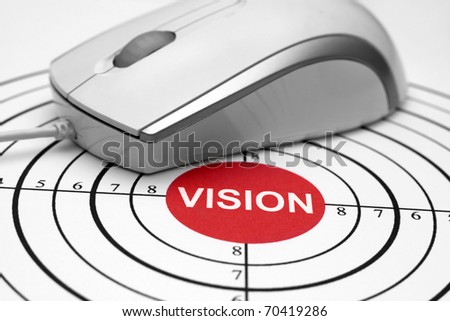 Close up of mouse on target vision