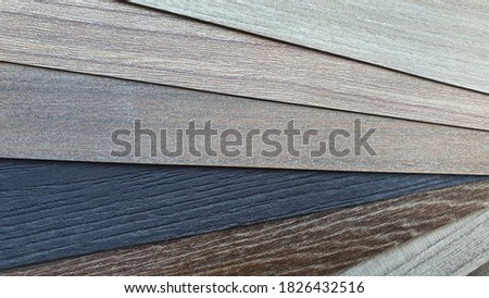 close up of multi-color and pattern of  wooden laminate or veneer catalog. macro view of wood laminate texture samples swatch for background. Photo stock ©
