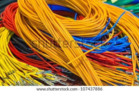 Close-up of multi-colored wires - stock photo