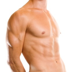Close up of muscular male torso, isolated over white background
