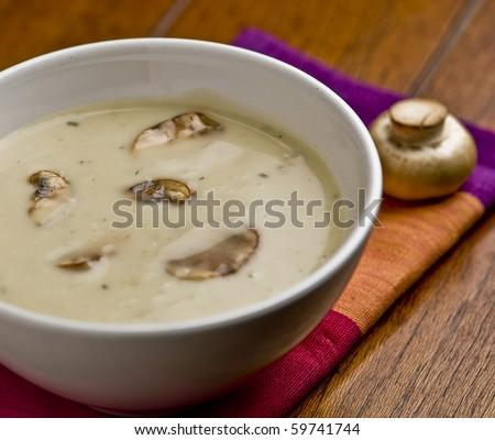 Close up of mushroom soup.