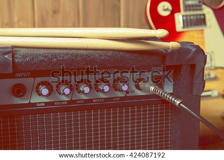 close-up of musical band equipment / create to rock music