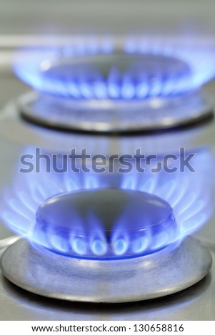 Close up of natural gas stove flames burning