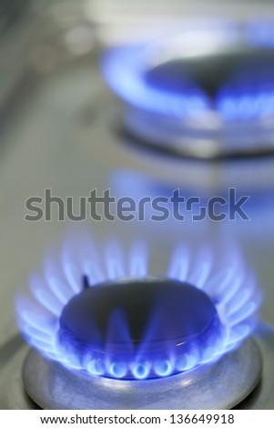 Close up of natural gas stove flames burning
