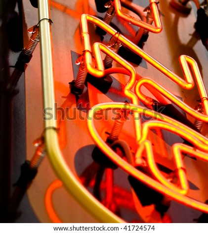 close up of neon sign