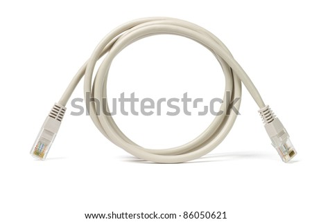 Close up of network cable and plugs on white background