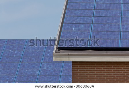 Close up of new building with solar panels