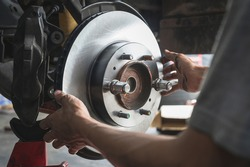 Close-up of new car Front Disc Brake Rotor.