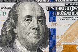 Close up of new hundred dollar bill.