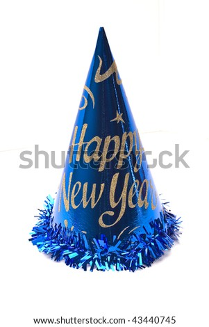 close up of new year hat on white background